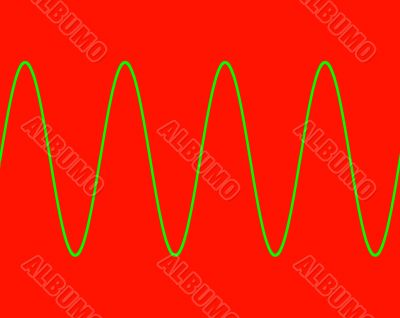 Green sine wave on red