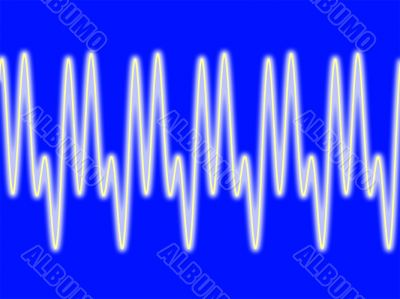 Sine wave on blue background