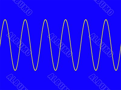 techno sine wave on blue background