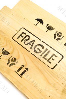 fragile sign on white