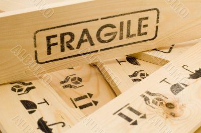 fragile sign on wood box