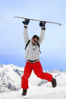 Flight with snowboard