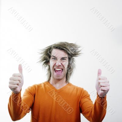 Man givings thumbs up