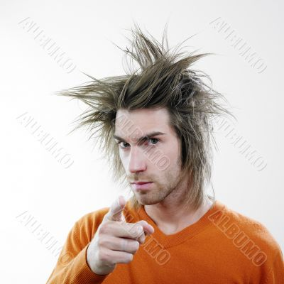 Man with unruly hair