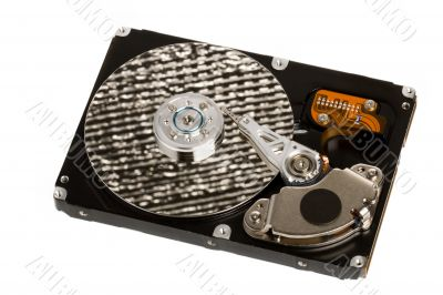 isolated opened hard disk drive