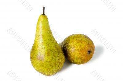 two green sweet pears