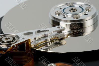 closeup opened hard disk drive