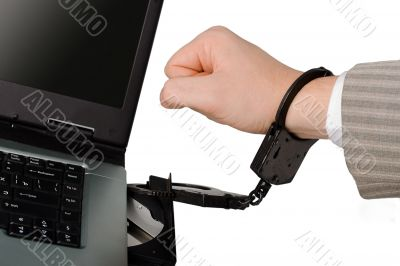 hand chained with hancuffs