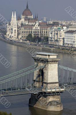 Danube and hungarian parliament and chain bridge.
