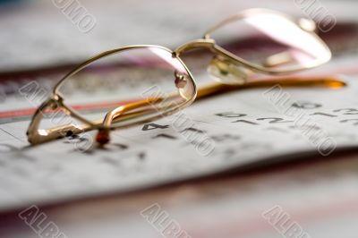 calendar and glasses concept