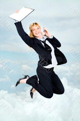 Joyful stewardess