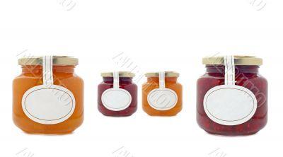 Apricot and strawberry jam jars