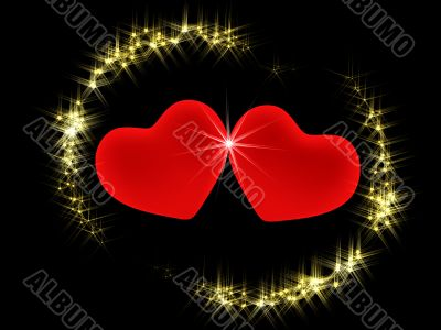 Two 3d hearts in an environment of shining stars