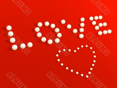 3D heart from pearls, on a red velvet