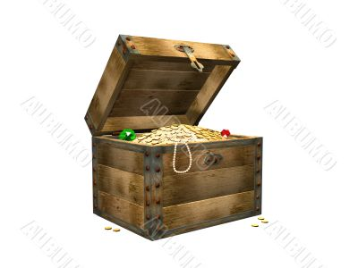 Wooden box with treasures. 3d