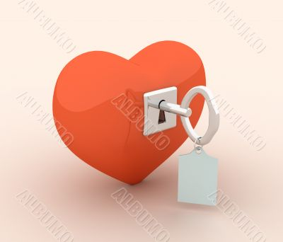 The 3d glass heart closed on the lock