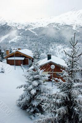 Ski resort after snow storm