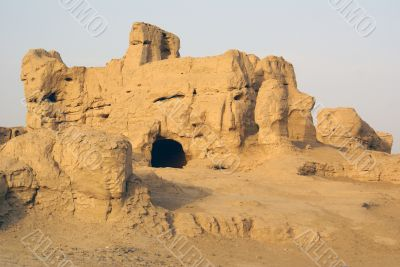 Hole in ruined house, Jiaohe, Silk road, China