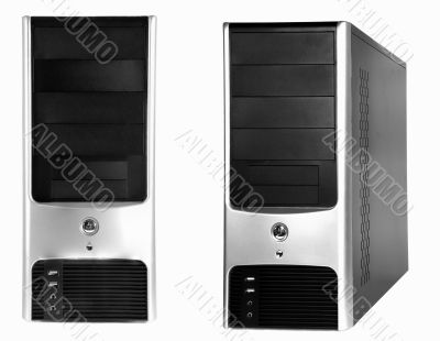 black silver computer case on white background