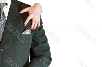 business suit with money and feminine hand
