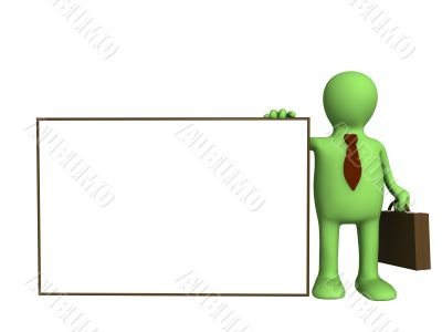 Puppet - businessman with empty form in hand