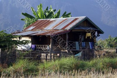 House in village, North Laos