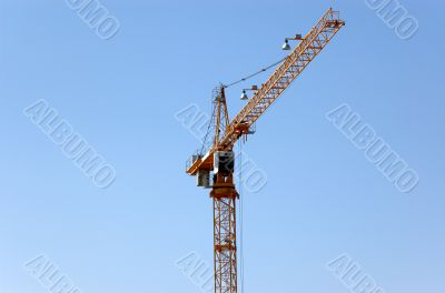 Lifting crane building the house