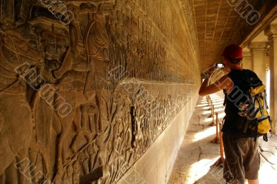 Tourist in Angkor at