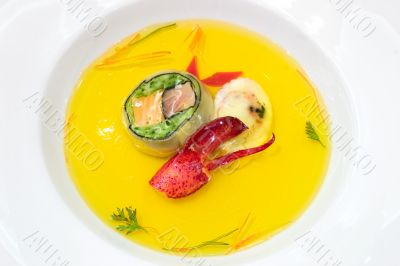 Seafood Broth with Lobster Claw