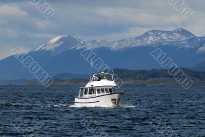 Ship in the Beagle Channel, near Ushuaia.