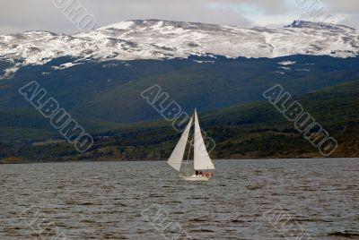 Yacht in the Beagle Channel, near Ushuaia.