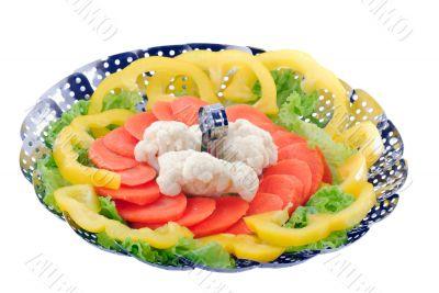 Vegetables on double boiler