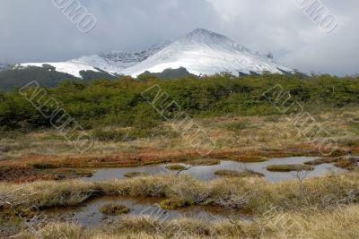 Landscape of Tierra Del Fuego near Ushuaia. Argentina.