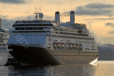 Big ship in the Beagle Channel. Port  Ushuaia.