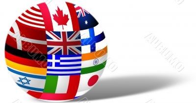 Sphere from country flags with shadow