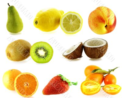set of eight kinds of fresh fruits
