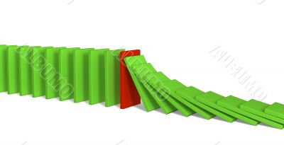 Red and green figures of a dominoes