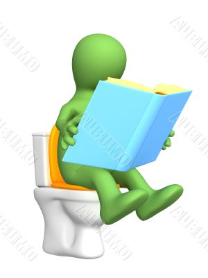 3d puppet, sitting with book on toilet bowl