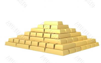 Symbol of riches - pyramid from gold ingots