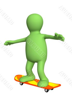 3d puppet, going for a drive on a skateboard