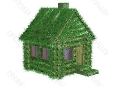 Small green house covered with a grass. 3D image.