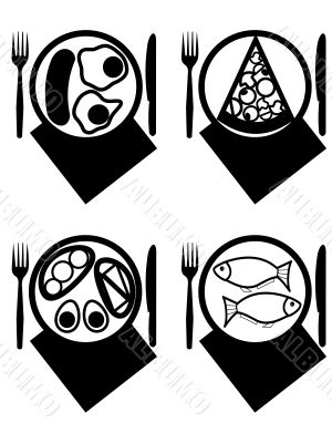Plates with meal