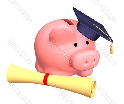 Piggy bank with cap and the diploma