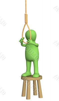 Despaired 3d person - puppet, making suicide
