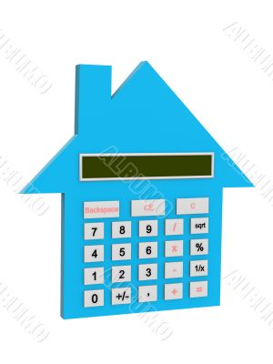 Conceptual image - 3d house the calculator