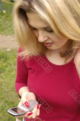 Teen woman sending sms