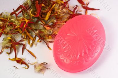 Pink soap with petals