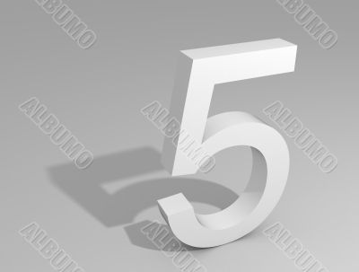 White number on gray background