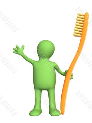 3d person - puppet with an orange tooth-brush