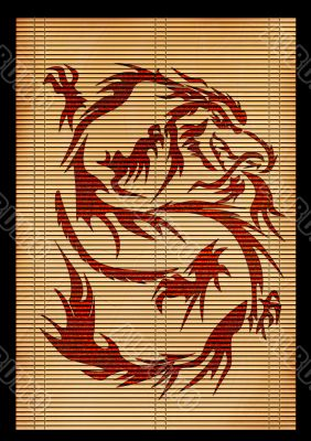 Ancient Japanese mat with the image of a dragon